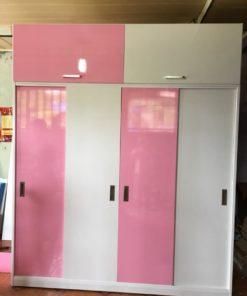 tủ nhựa đài loan trắng hồng cánh đẩy