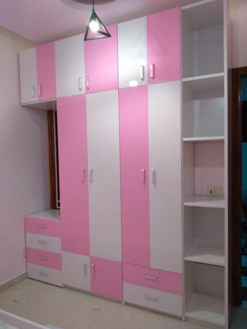 Tủ quần áo nhựa đài loan hồng trang trí