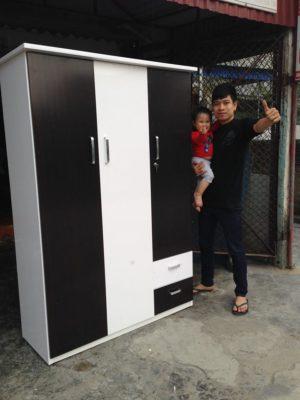tủ 3 buồng trắng đen