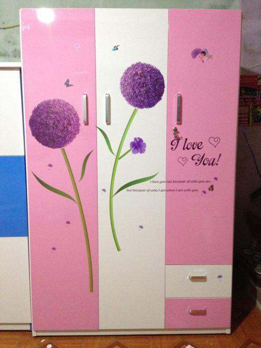 tủ 3 buồng trắng hồng