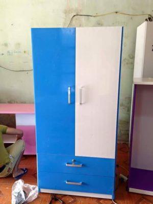 tủ 2 buồng trắng xanh dương
