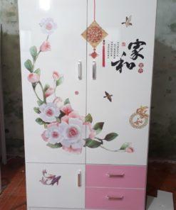 tủ 2 buồng trắng hồng